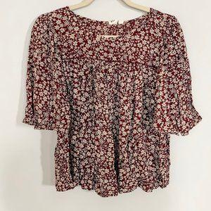 GAP blouse burgundy tan floral flounce M